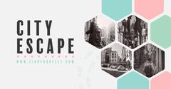 Grey & Pink & Green Hexagon Pattern City Escape Instagram Landscape City