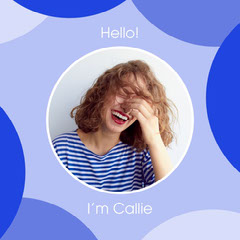 Blue Circles and Laughing Woman Photo Square ID Card Hello
