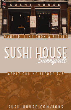 Brown Japanese Restaurant Open Position Job Offer Flyer Job Poster