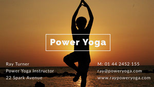 White and Silhouette Of Woman Power Yoga Card Yoga Posters
