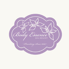 Pink Floral Spa Resort Badge Wellness