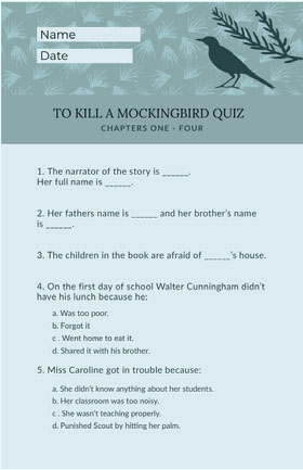 Blue and Black Book Quiz Worksheet School Project