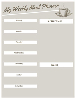 Gray Illustrated Weekly Meal Planner Menu de la semaine