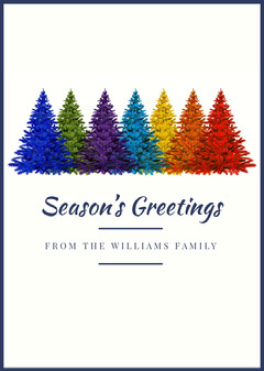 White With Colorful Christmas Trees Greetings Card Christmas