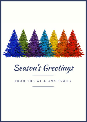 White With Colorful Christmas Trees Greetings Card Christmas Card