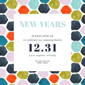 colorful New Years party virtual invite instagram square  Event Program