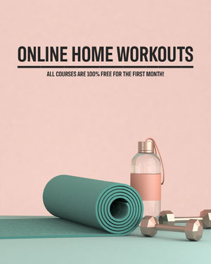 Pink and Teal Online Home Workout Programs Instagram Portrait Ad COVID-19 Re-opening