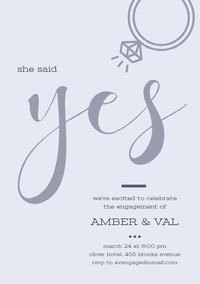 Purple Yes Elegant Calligraphy Engagement Party Invitation Card mariage