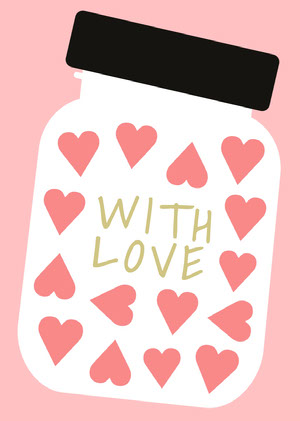Pink, Gold and Black, With Love Card Valentines Day Card