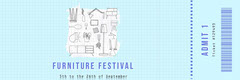 Light Blue Illustrated Furniture Festival Ticket Furniture Sale