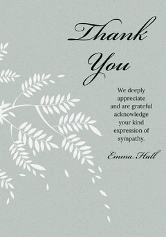 Pale Green Elegant Calligraphy Floral Thank You for Attending Funeral Card Funeral