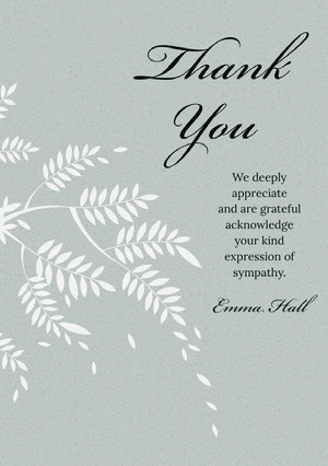 Pale Green Elegant Calligraphy Floral Thank You for Attending Funeral Card Sympatikort