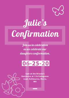 Pink, Light Tone Confirmaation Invitation Card Christianity