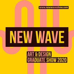 Coral & Yellow Wave Icon Instagram Square Art Show