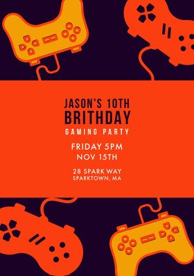 Orange Yellow and Black Boy Birthday Party Invitation Birthday Invitation (Boy)