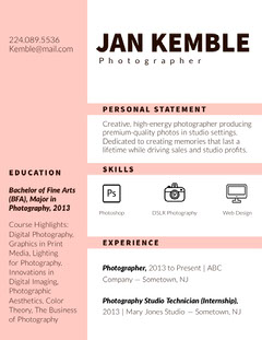 Pink Photographer Resume Photography