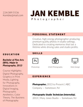 Pink Photographer Resume CV professionnel