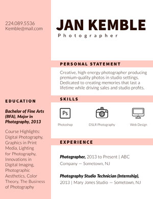Pink Photographer Resume Resume  Examples