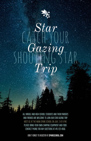 Stargazing School Trip Flyer with Night Sky Camping Poster