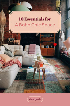 Pink Boho Chic Style Interior Design Pinterest Graphic with Living Room Photograph Interior Design
