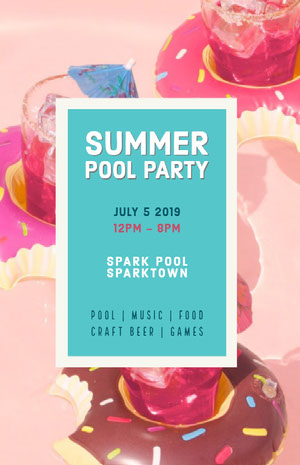 Pink and Blue Summer Pool Party Poster Pool Party Invitation
