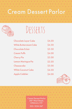 cream dessert parlor menu  Cakes