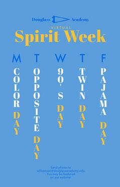 blue virtual spirit week poster  Spirit Week