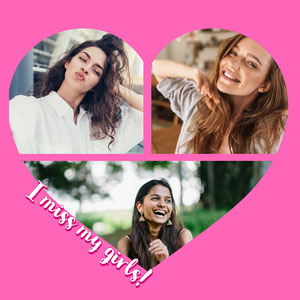 Pink Cute Three Panel Heart Collage Heart-Shaped Collage