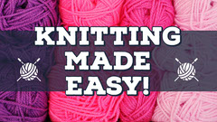 Pink and Purple Knitting Tutorial Youtube Thumbnail with Yarn Tutorial