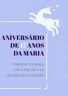 white stars and light purple unicorn birthday cards  Cartão de aniversário