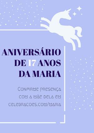 white stars and light purple unicorn birthday cards  Convite de aniversário de unicórnio