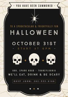 Halloween Spider Skull Party Invitation Halloween Party Invitation