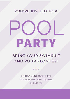 Pink and Purple Pool Party Invitation Card Party
