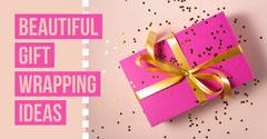 Pink & Beige Gift Wrapped Present Instagram Landscape Confetti