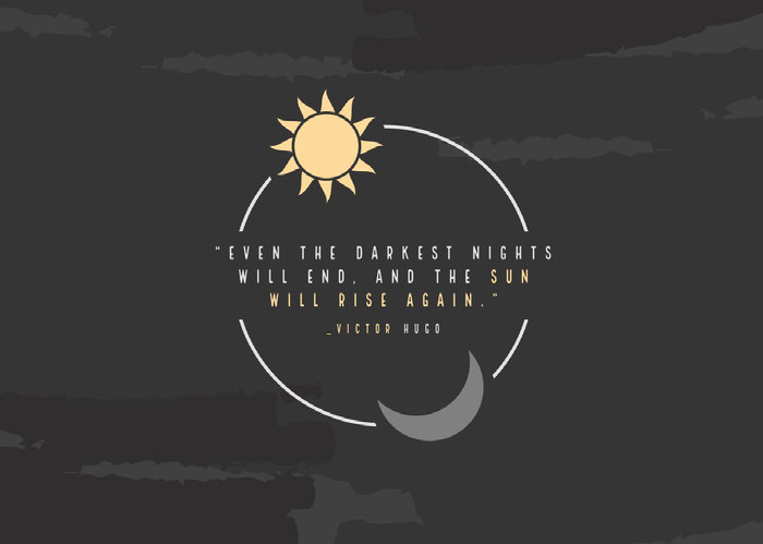 """Even the darkest nights will end, and the sun will rise again."" Mensagens de boa noite"