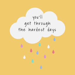 Yellow and Colorful Cloud, Optimistic Quote, Instagram Square