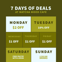 Green and White Cafe Promotion Deal