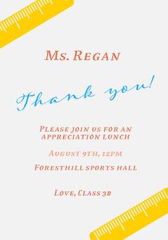 Yellow and White Ruler Teacher Appreciation Lunch Invitation Card Teacher