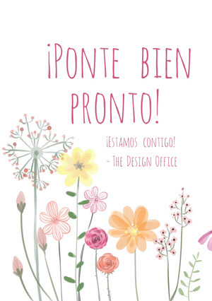 colorful flowers get well soon cards  Tarjeta de recupérate pronto