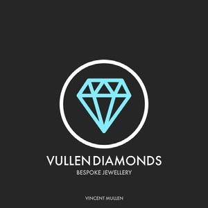 Black and Cyan Diamond in Circle Jeweler Logo Instagram Square Logo Circulaire