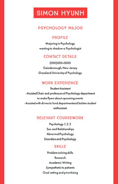 Red and White Professional Resume Educational Course