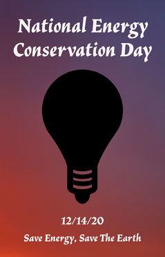Orange & Purple Gradient Energy Conservation Day Poster Earth