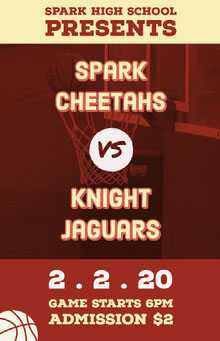 Red and Yellow High School Basketball Team Match Flyer School Posters