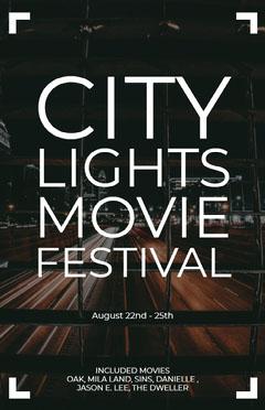White and Black City Lights Movie Festival Poster Film Festival Poster