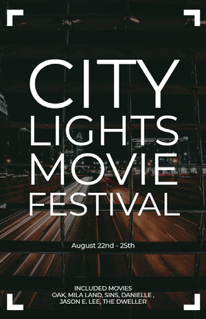 White and Black City Lights Movie Festival Poster Filmposter