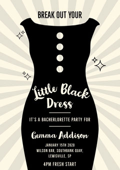 Black and White Bechelorette Party Invitation Card Dress