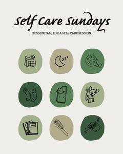 green brown grey self care Sunday essentials instagram portrait  Movie Night Flyer
