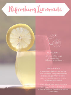 Pink and Yellow Lemonade Recipe Card Recipes