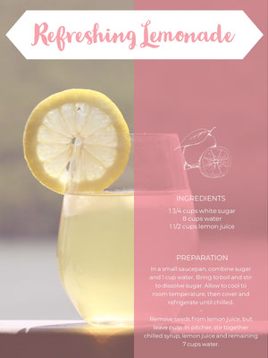 Pink and Yellow Lemonade Recipe Card 조리법 카드