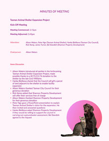 Pink Animal Shelter Meeting Minutes Meeting Minute